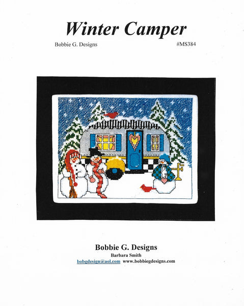 Bobbie G. Winter Camper MS384 camping/RV cross stitch pattern