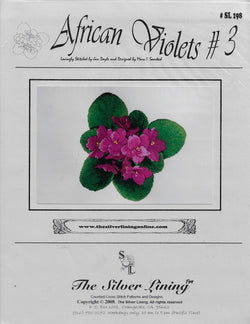 Silver Lining African Violets #3 flower cross stitch pattern