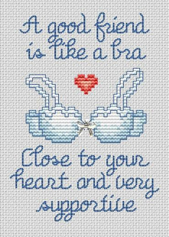 Sue Hillis A good friend is like a bra cross stitch pattern