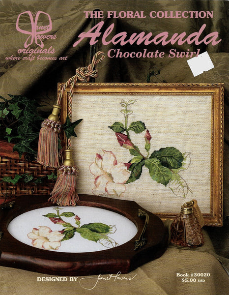 Janet Originals Alamanda Chocolate Swirl flower cross stitch pattern