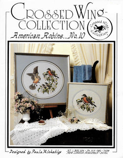 Crossed Wings American Robins no. 10 bird cross stitch pattern