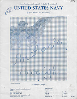 United States Navy Anchors Aweigh cross stitch pattern book Judith Brown