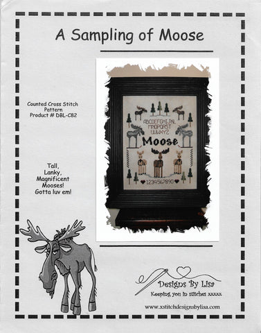 Designs by Lisa A Sampling of Moose cross stitch pattern