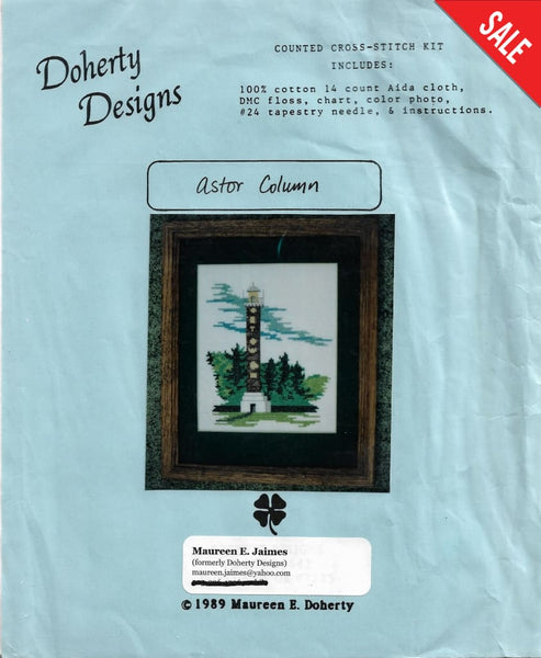 Doherty Designs Astor Column Lighthouse cross stitch kit