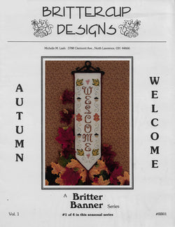 Brittercup Autumn Welcome banner cross stitch pattern
