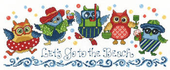 Imaginating Beach Owls 2971 cross stitch pattern