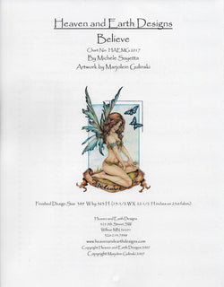 Heaven and Earth Designs Believe fairy cross stitch pattern