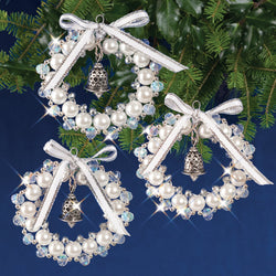 Solid Oak Bell Wreaths beaded ornament kit