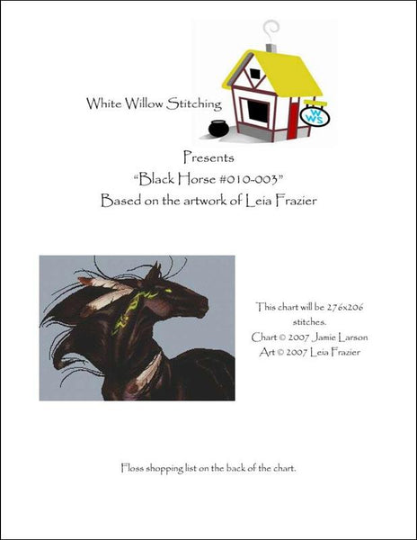 White Willow Black Horse cross stitch pattern