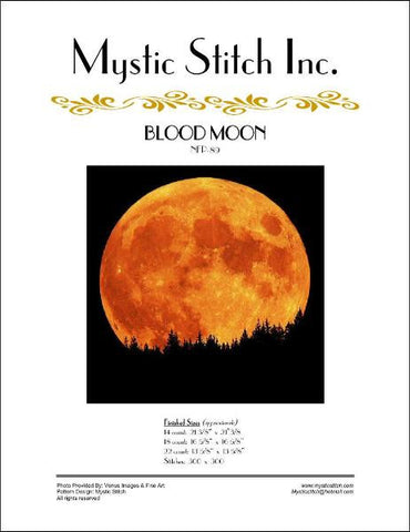 Mystic stitch Blood Moon cross stitch pattern