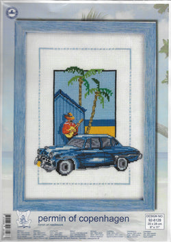 Permin of Copenhagen Blue Car 92-8128 cross stitch kit