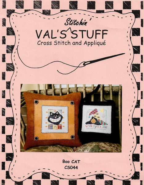 Val's Stuff Boo Cat halloween cross stitch pattern