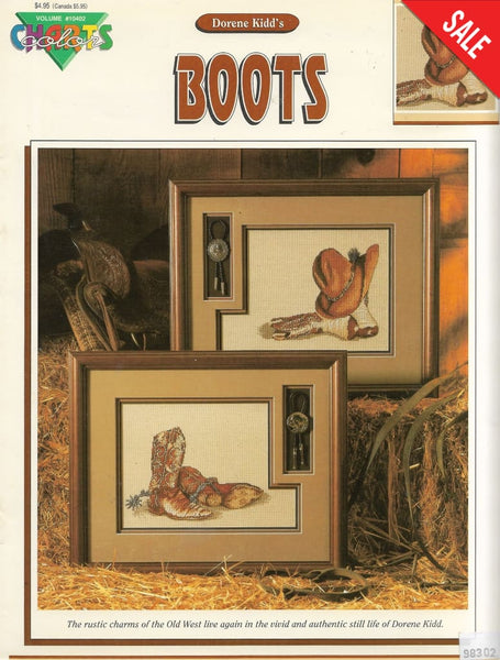 Color Charts Boots western cross stitch pattern