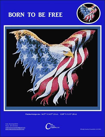 Cody Country Born to be Free eagle flag cross stitch pattern