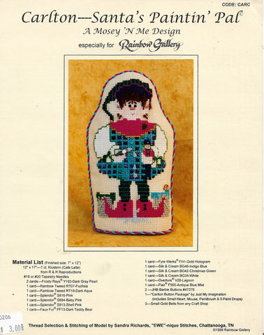 Msey 'N Me Carlton Santa's Paintin' Pal Christmas cross stitch pattern