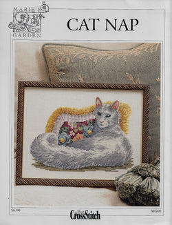 Marie;s Garden Cat Nap cross stitch pattern