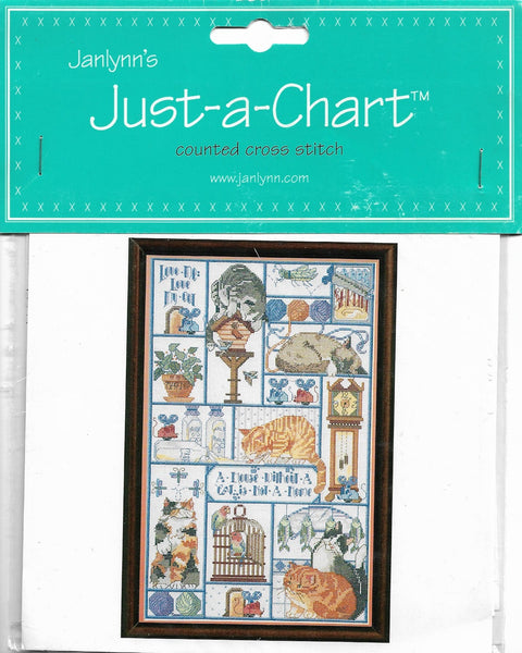 JanLynn Just-A-Chart Cats cats cats cross stitch pattern