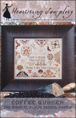 Heartstring Samplery Coffee Quaker cross stitch pattern