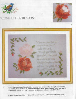 Linen Flower Designs Come Let Us Reason religious cross stitch pattern