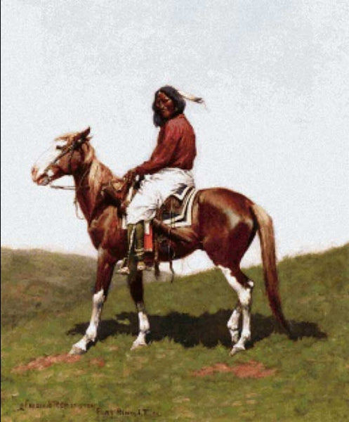 Scarlet Quince Comanche Brave native american cross stitch pattern