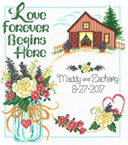 Imaginating Country Wedding 2981 cross stitch pattern