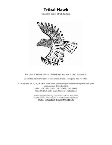 Austin Thread Crafts Tribal Hawk native american cross stitch pattern