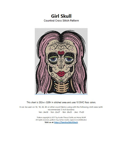 Austin Thread Crafts Girl Skull cross stitch pattern