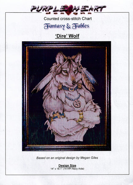 Purple Heart Dire Wolf cross stitch pattern
