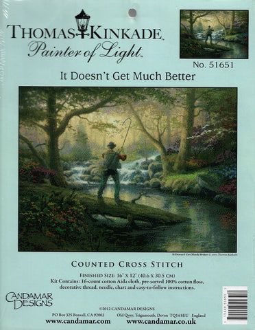 Candamar thomas Kinkade It Doesn't Get Much Better fishing cross stitch kit