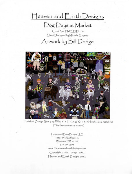 Heaven and earth design Dog Days at Market cross stitch pattern