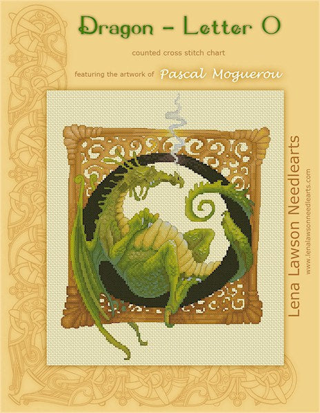 Lena Lawson Dragon Letter O by Pascal Moguerou cross stitch pattern