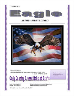 Cody Country Eagle 2013 flag cross stitch pattern