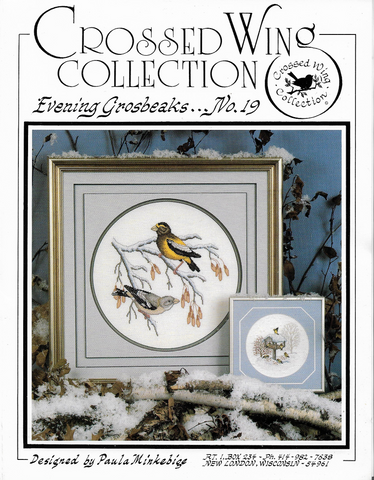 Crossed Wing Evening Grosbeaks 19 cross stitch pattern