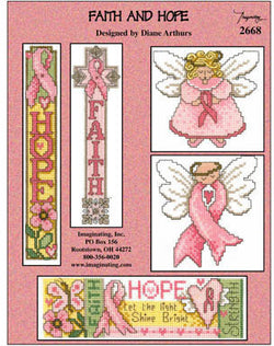 Imaginating Faith and Hope pink ribbon cross stitch pattern