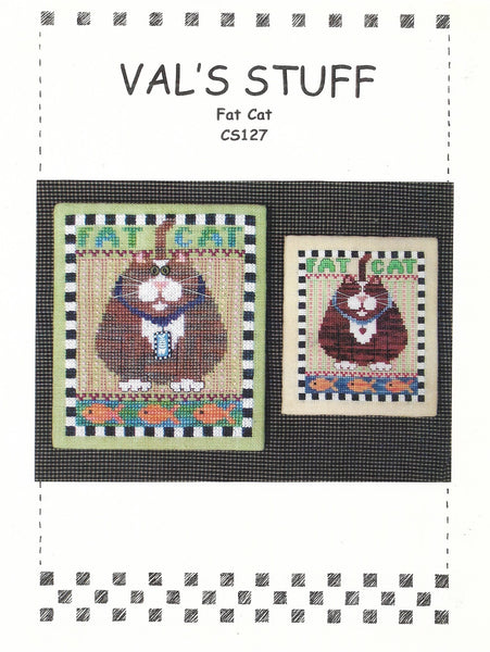 Val's Baby Fat Cat CS127 cross stitch pattern