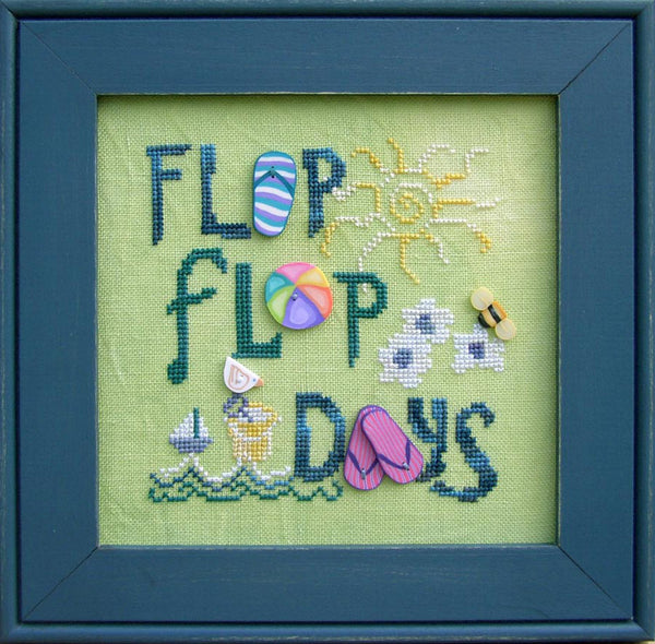 Just Another Button Company Flip Flop Days Button pack with free beach chart cross stitch