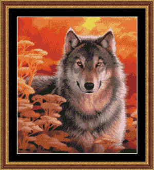 Kustom Crafts Gaze wolf cross stitch patten