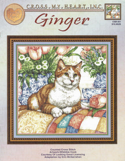 Cross My Heart Ginger CSB-301 cat cross stitch pattern