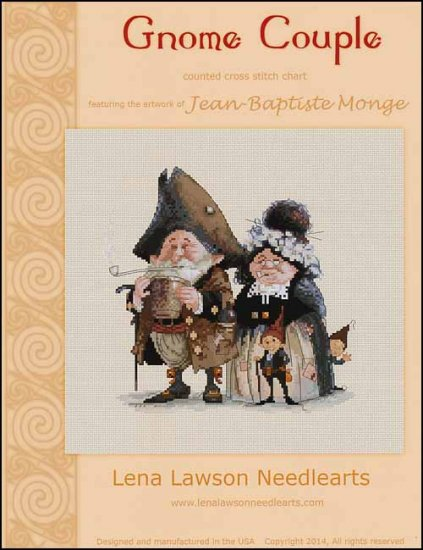 Lena Lawson Gnome Couple by Jean-Baptiste Monge cross stitch pattern