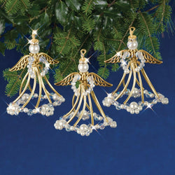 Solid Oak Golden Angels beaded ornament kit