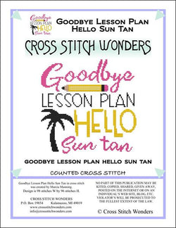 Cross Stitch Wonders Goodbye Lesson Plan Hello Sun Tan cross stitch pattern