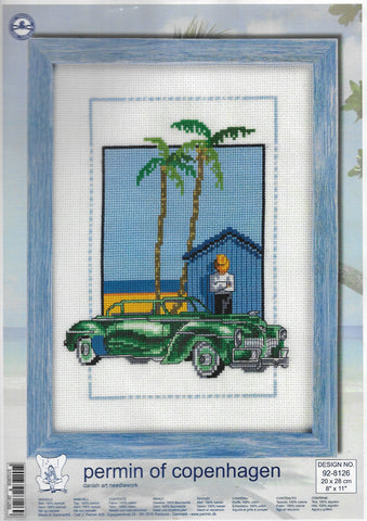 Permin of Copenhagen green Car 92-8126 cross stitch kit