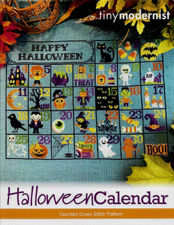 Tiny Modernist Halloween Calendar cross stitch pattern