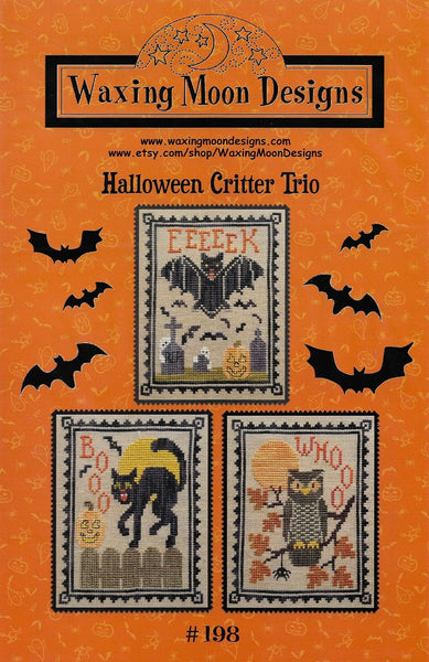 Waxing Moon Halloween Critter Trio cross stitch pattern
