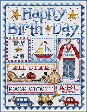 Sue Hillis Happy Birthday for Boys cross stitch pattern