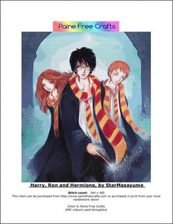 Paine Free Crafts Harry, Ron and Hermione Harry Potter cross stitch pattern