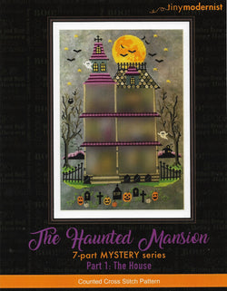 Tiny Modernist Haunted Mansion The House Halloween cross stitch pattern