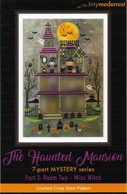 Tiny Modernist Haunted Mansion Miss Witch Halloween cross stitch pattern