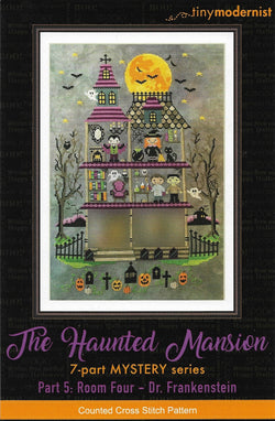 Tiny Modernist Haunted Mansion Dr. Frankenstein Halloween cross stitch pattern