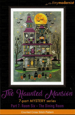 Tiny Modernist Haunted Mansion The Dining Room Halloween cross stitch pattern